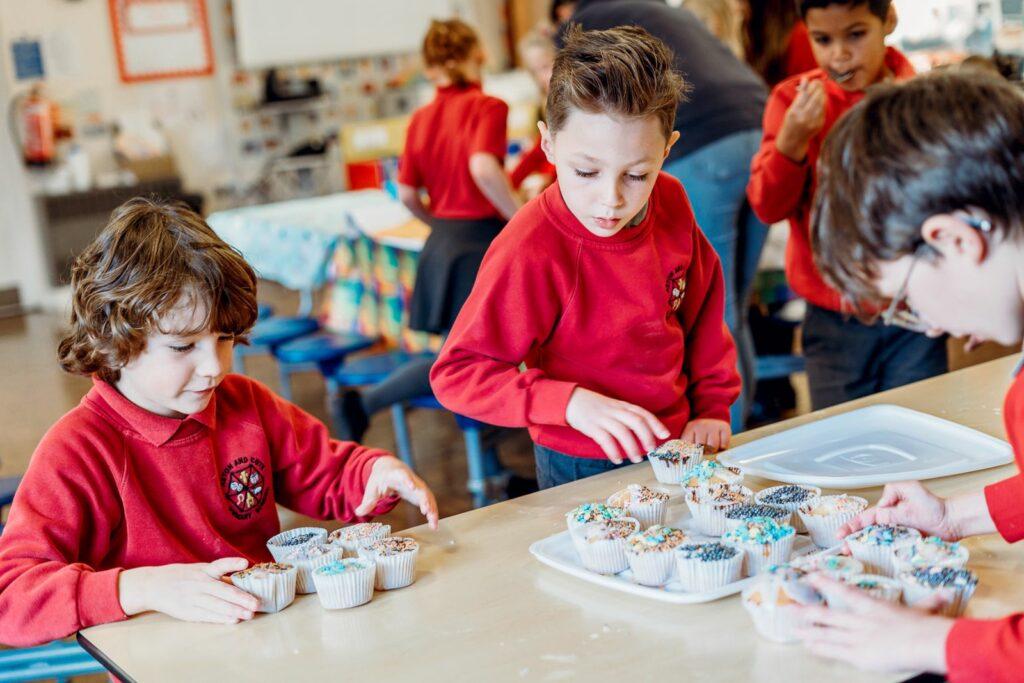 children baking at an after school club